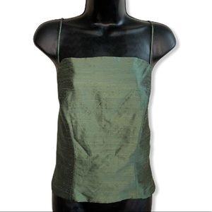 Tops - Maria Llussa Rabell Olive Metallic Wash Tank Top